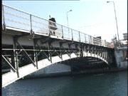 Ο Θεοδόσης Τάσιος διασχίζει τη συρταρωτή γέφυρα της Χαλκίδας,  στο πλαίσιο εκδήλωσης του ΤΕΕ Τμήματος Ευβοίας για τα 45 χρόνια της γέφυρας